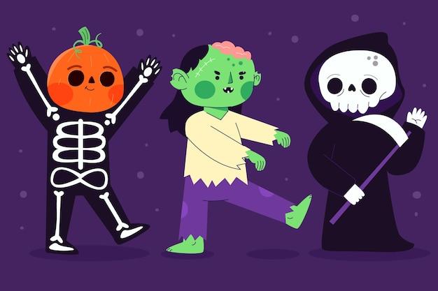 Flat design halloween character set Free Vector