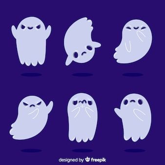 Flat design of halloween child ghost collection