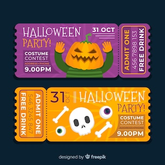 Flat design of halloween costume contest tickets