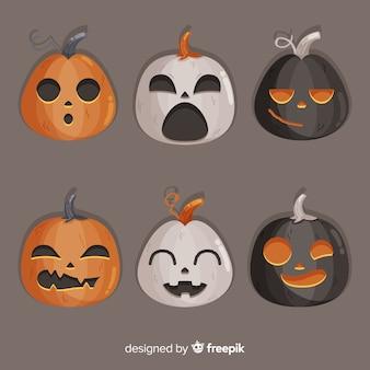 Flat design of halloween creepy pumpkins