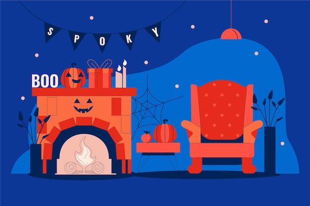 Camera decorata di halloween dal design piatto