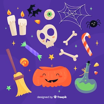 Flat design halloween element collection