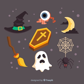 Flat design of halloween element collection