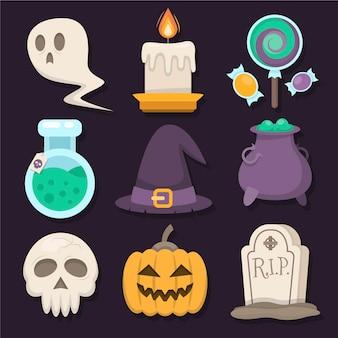 Набор плоских элементов дизайна хэллоуина