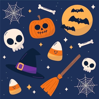 Insieme di elementi di halloween design piatto