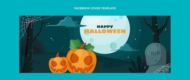 Copertina facebook di halloween design piatto