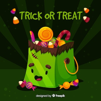 Flat design of halloween frankenstein monster bag