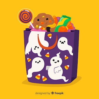 Flat design of halloween ghost bag