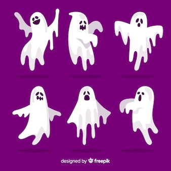 Flat design of halloween ghost collection on purple background