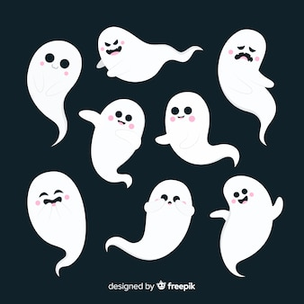 Flat design of halloween ghost collection
