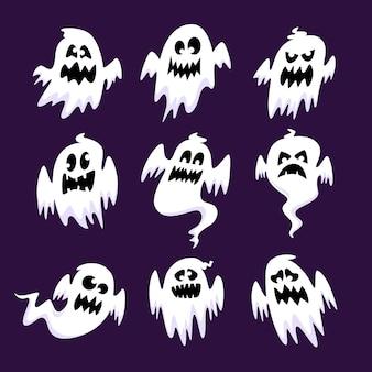 Плоский дизайн коллекции призраков хэллоуина