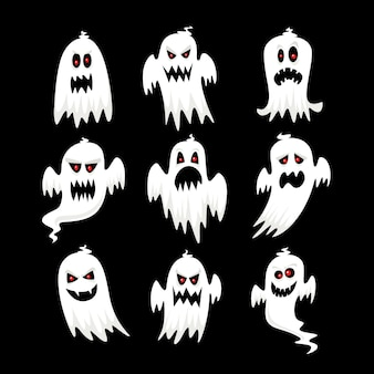 Collezione di fantasmi di halloween design piatto