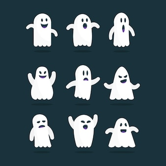 Flat design halloween ghost collection