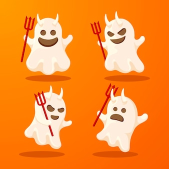 Flat design halloween ghost pack
