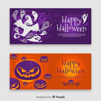 Flat design of halloween ghost and pumpkin banner