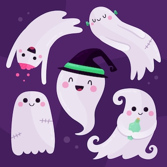 Flat design halloween ghost set
