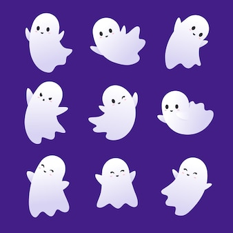 Flat design halloween ghosts collection