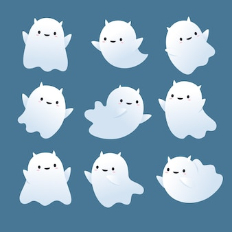 Flat design halloween ghosts set