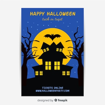 Flat design of halloween haunted house party poster template