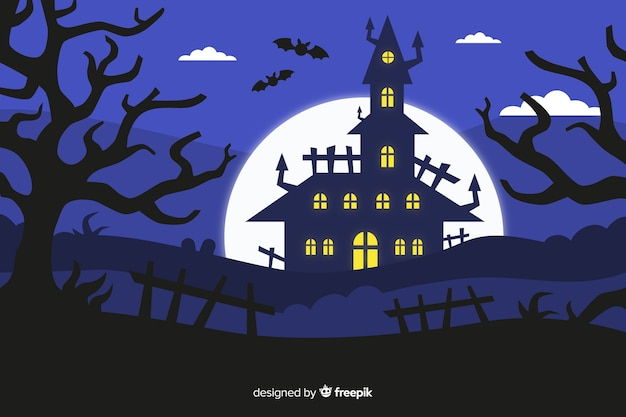 Flat design of halloween haunted house
