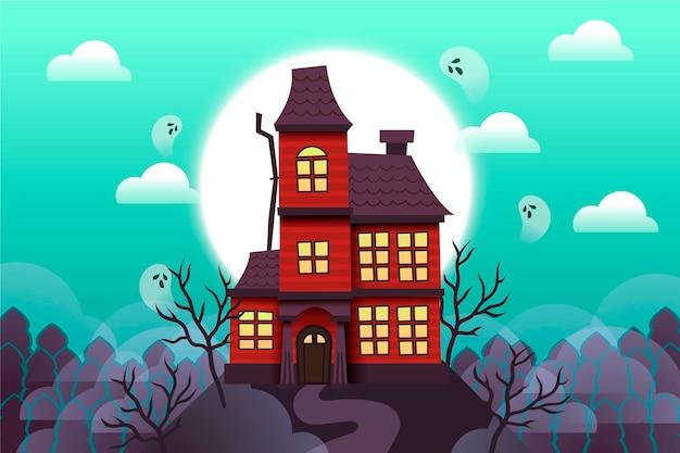 Illustrazione di casa di halloween design piatto