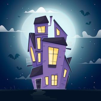 Casa di halloween design piatto nelle ore notturne