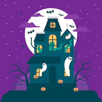 Flat design halloween house with ghosts