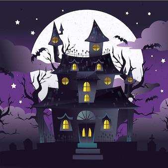 Плоский дизайн хэллоуин дом