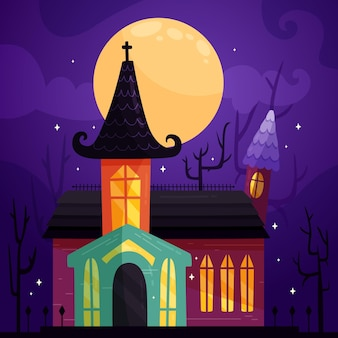 Flat design halloween house