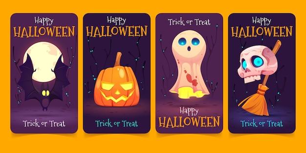 Flat design of halloweeninstagram stories
