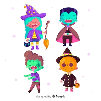Flat design of halloween kid collection