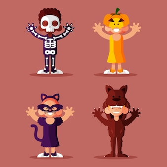 Плоский дизайн хэллоуин kid коллекция