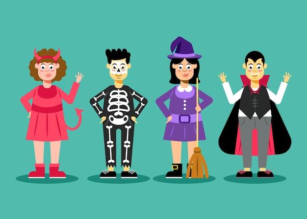 Плоский дизайн хэллоуин детская коллекция