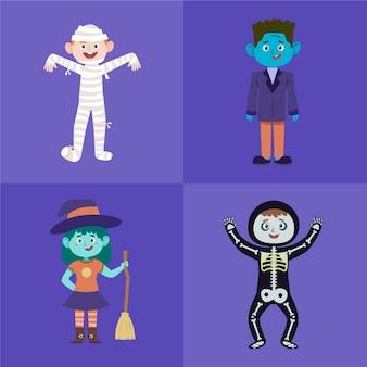 Collezione di bambini di halloween design piatto