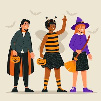Flat design halloween kid collection