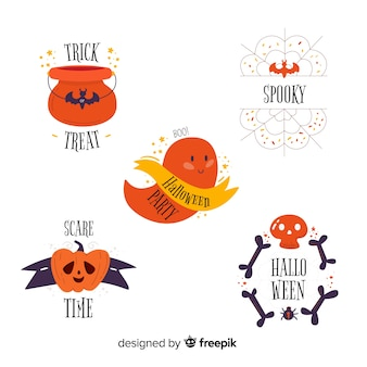 Flat design of halloween label collection
