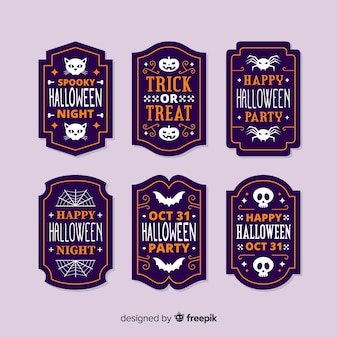 Flat design halloween label collection