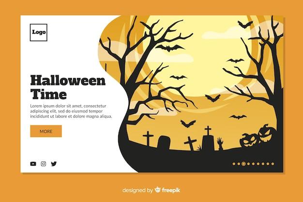 Flat design halloween landing page template