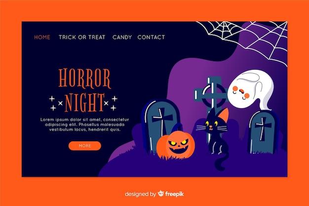 Flat design of halloween landing page