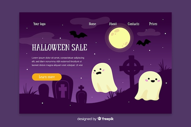Flat design of halloween landing page