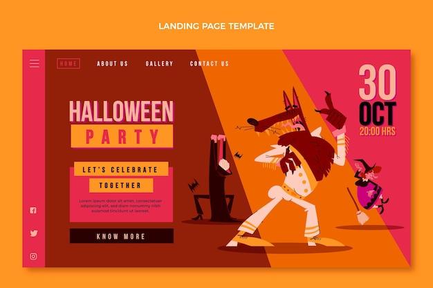Плоский дизайн целевой страницы хэллоуина