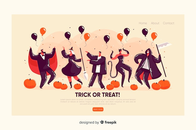 Flat design halloween landing page