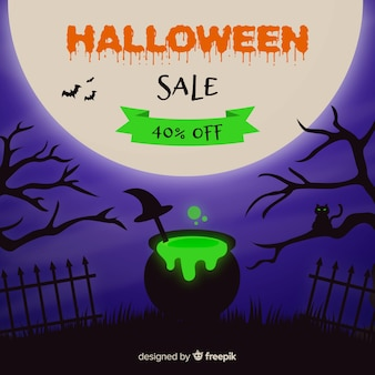 Flat design halloween melting pot sale