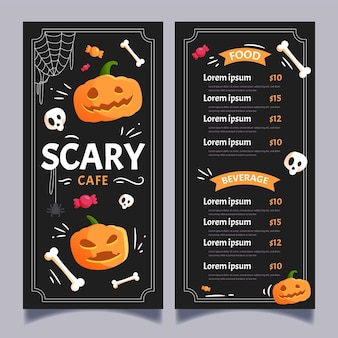 Modello di menu di halloween design piatto
