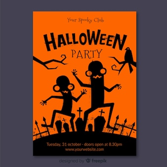 Flat design of halloween party flyer template