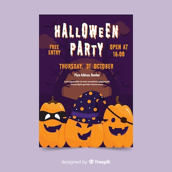 Flat design halloween party poster template