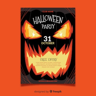 Flat design of halloween party poster template