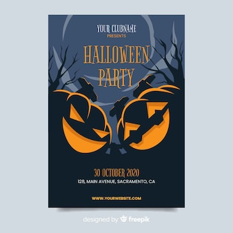 Flat design of halloween party poster template Free Vector