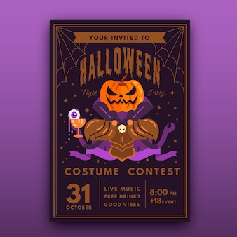 Плоский дизайн шаблона плаката хэллоуина