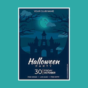 Flat design halloween party poster with illustrated scary house